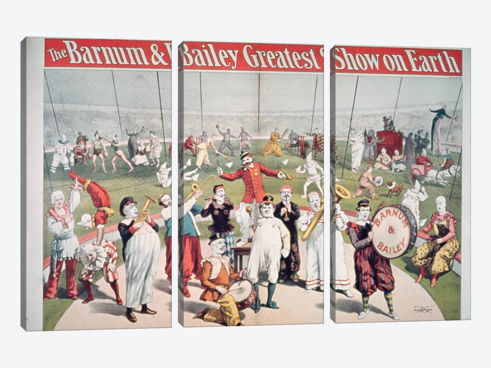 Poster advertising the Barnum and Bailey Greatest Show on Earth by American School 3-piece Canvas Print