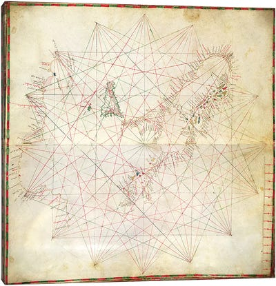 Map of the Adriatic Sea  Canvas Art Print
