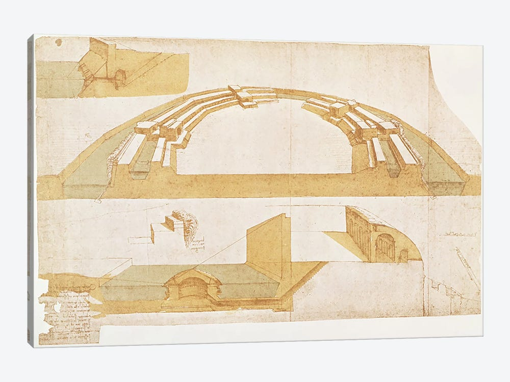 Study for a Fortress on a Polygonal Ground Plan with a Double Moat, fol. 116r from the Codex Atlanticus, 1504-8  by Leonardo da Vinci 1-piece Canvas Wall Art