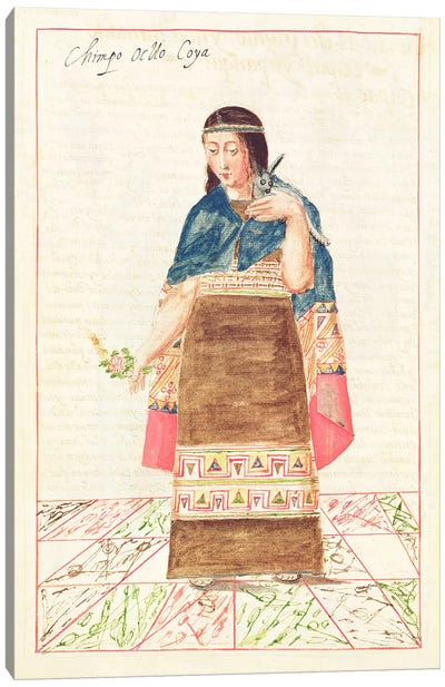 Illustration from 'Historia y Genealogia Real de los Reyes Incas del Peru, de sus hechos, costumbres, trajes y manera de Gobierno', known as the Codice Murua  Canvas Print #BMN3326