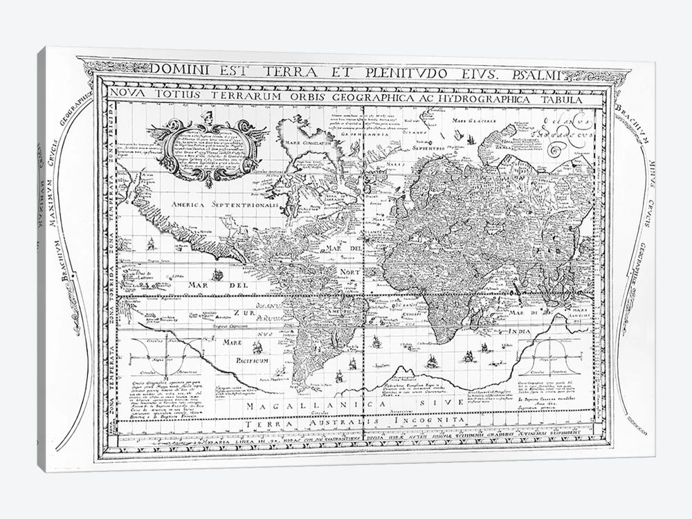 Nova Totius Terrarum Orbis Geographica Ac Hydrographica Tabula, 1642 by Dutch School 1-piece Canvas Wall Art