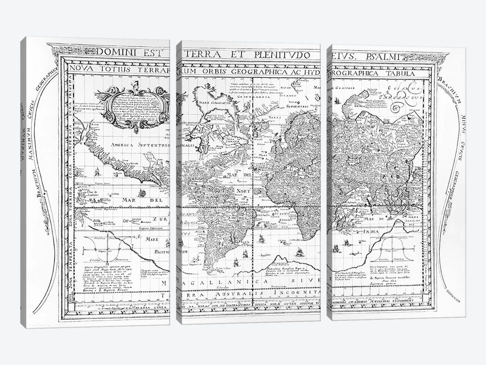 Nova Totius Terrarum Orbis Geographica Ac Hydrographica Tabula, 1642  by Dutch School 3-piece Canvas Wall Art