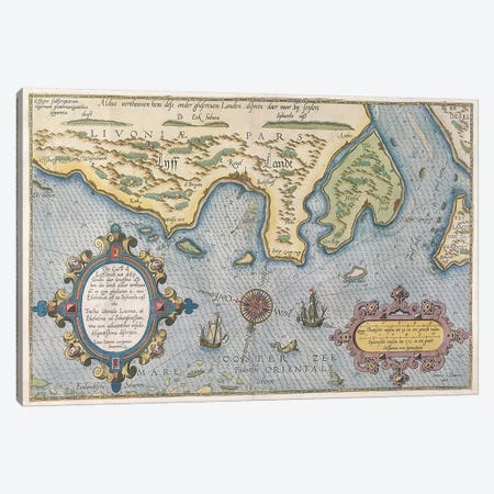 Dutch Trade map of the Baltic Sea  Canvas Print #BMN3330} by Dutch School Canvas Art Print