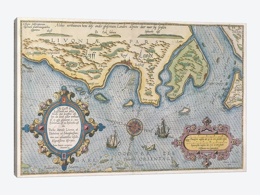 Dutch Trade map of the Baltic Sea by Dutch School 1-piece Canvas Wall Art