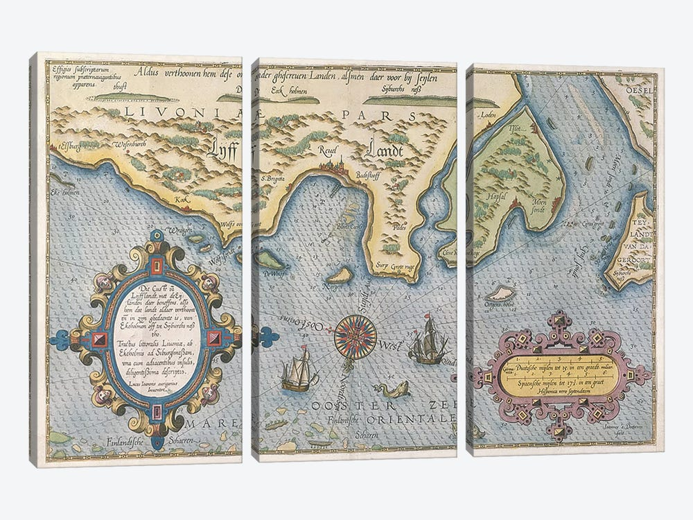 Dutch Trade map of the Baltic Sea by Dutch School 3-piece Canvas Artwork