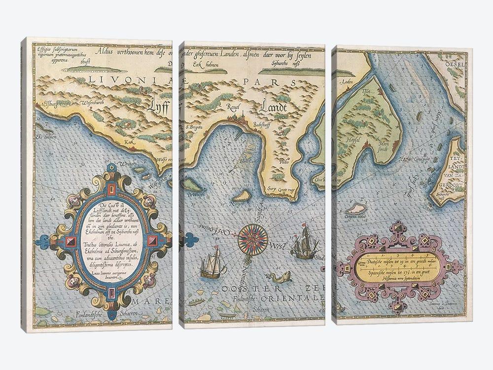 Dutch Trade map of the Baltic Sea  by Dutch School 3-piece Canvas Artwork