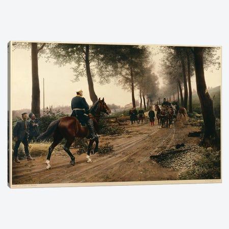 Bismarck and Napoleon meeting at the Chaussee von Donchery on the 2nd September 1870  Canvas Print #BMN3332} by Anton Alexander von Werner Canvas Art Print