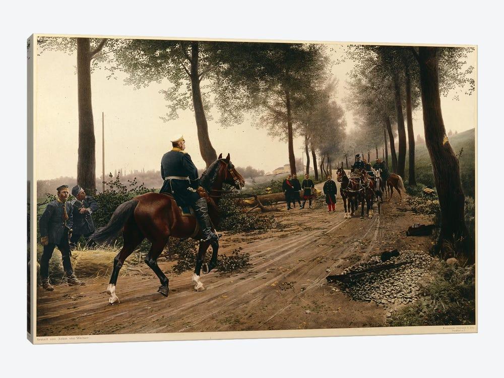 Bismarck and Napoleon meeting at the Chaussee von Donchery on the 2nd September 1870  by Anton Alexander von Werner 1-piece Canvas Artwork