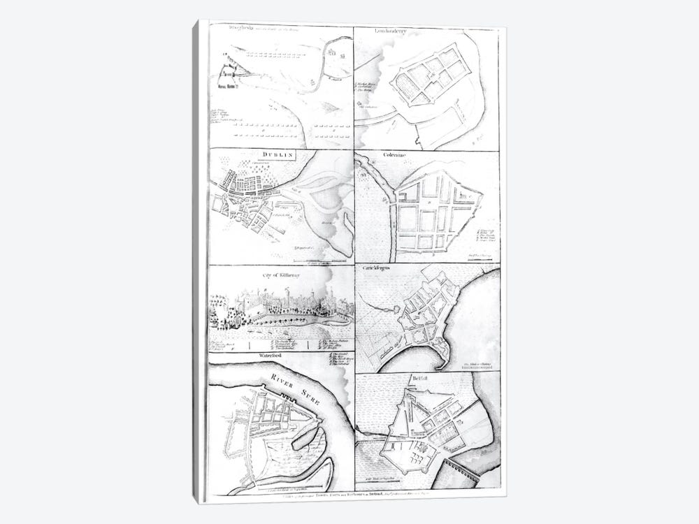 Plans of the principle Towers, Forts and Harbours in Ireland by English School 1-piece Canvas Artwork