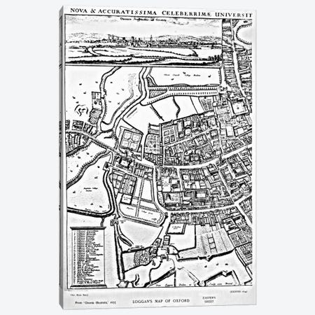 Loggan's map of Oxford, Eastern Sheet, from 'Oxonia Illustrated', published 1675  Canvas Print #BMN3335} by David Loggan Canvas Wall Art