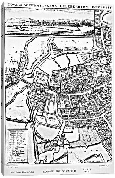 Loggan's map of Oxford, Eastern Sheet, from 'Oxonia Illustrated', published 1675 Canvas Art Print