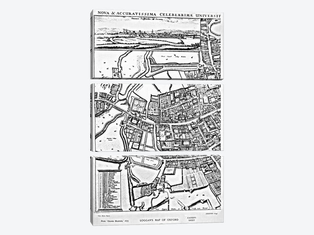 Loggan's map of Oxford, Eastern Sheet, from 'Oxonia Illustrated', published 1675  by David Loggan 3-piece Canvas Art Print