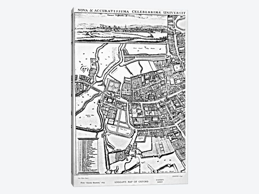 Loggan's map of Oxford, Eastern Sheet, from 'Oxonia Illustrated', published 1675  by David Loggan 1-piece Canvas Print
