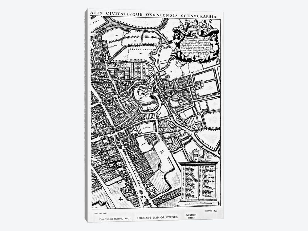 Loggan's map of Oxford, Western Sheet, from 'Oxonia Illustrated', published 1675  by David Loggan 1-piece Canvas Artwork
