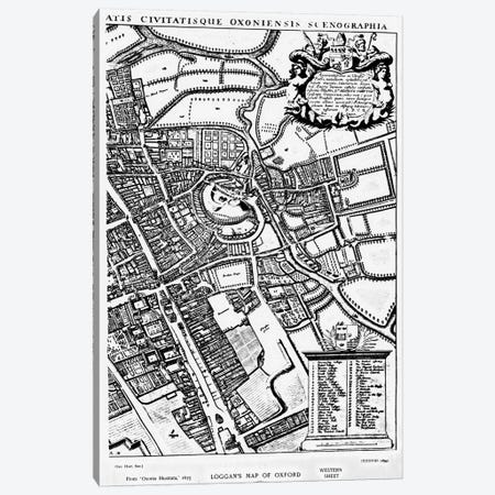 Loggan's map of Oxford, Western Sheet, from 'Oxonia Illustrated', published 1675  Canvas Print #BMN3336} by David Loggan Canvas Artwork