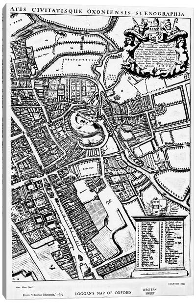 Loggan's map of Oxford, Western Sheet, from 'Oxonia Illustrated', published 1675  Canvas Art Print