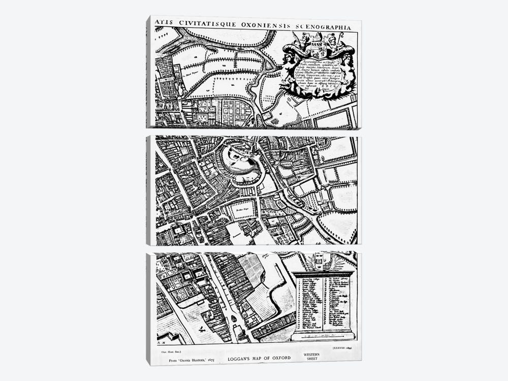 Loggan's map of Oxford, Western Sheet, from 'Oxonia Illustrated', published 1675  by David Loggan 3-piece Canvas Artwork