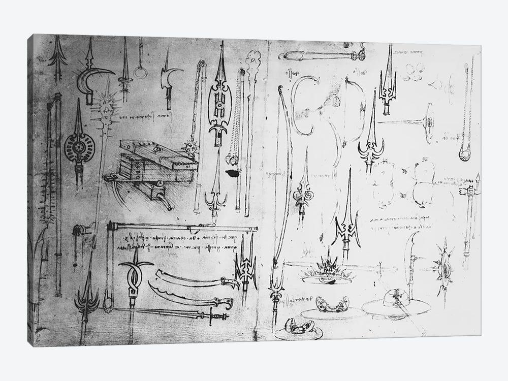Weapons and shields, c.1487-88  by Leonardo da Vinci 1-piece Canvas Wall Art