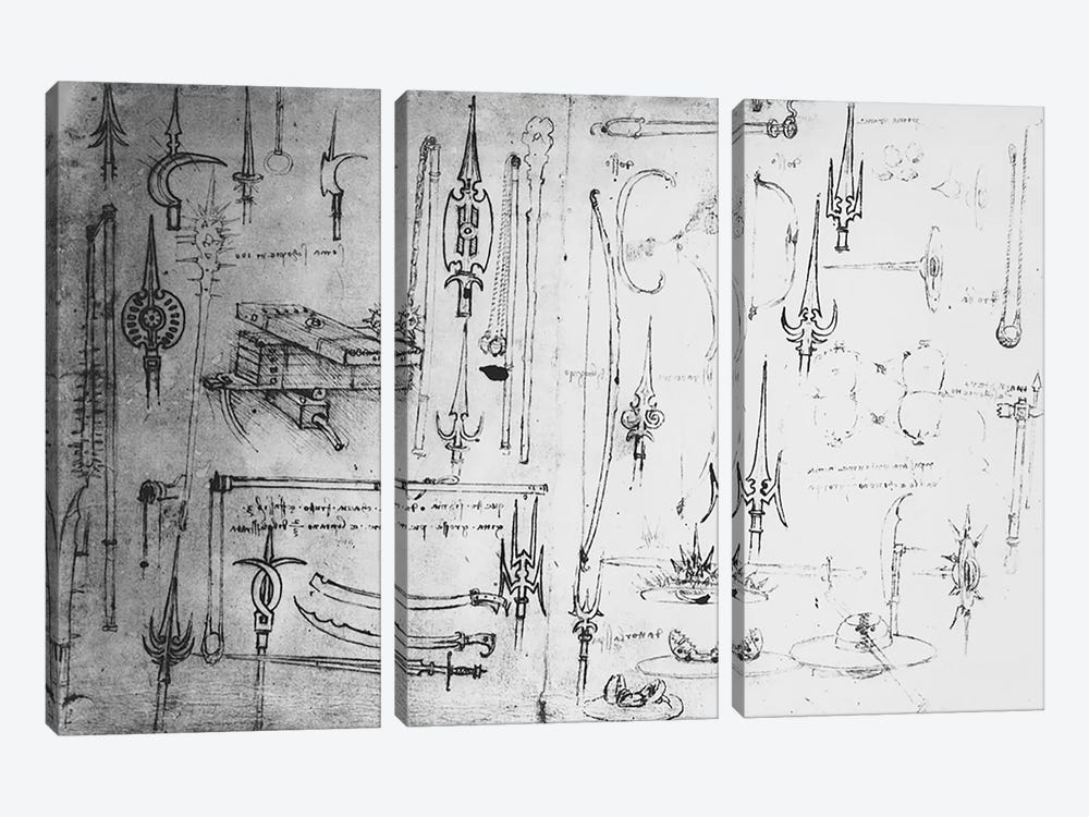Weapons and shields, c.1487-88  by Leonardo da Vinci 3-piece Canvas Wall Art