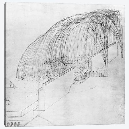 Mortars firing stones over a wall into a fort, table 1 from the Codex Altanticus  Canvas Print #BMN3342} by Leonardo da Vinci Canvas Artwork