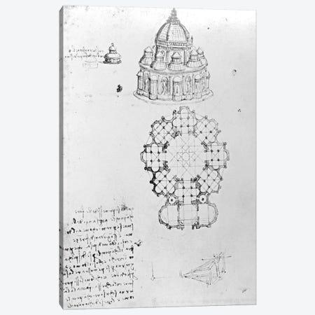Centralised church, and maritime engineering, Fol. 5v from Codex Ashburnham  Canvas Print #BMN3343} by Leonardo da Vinci Canvas Art