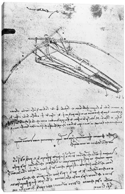 Design for a flying machine, folio 74v 143, c.1488  Canvas Art Print