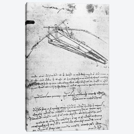 Design for a flying machine, folio 74v 143, c.1488  Canvas Print #BMN3345} by Leonardo da Vinci Canvas Art Print