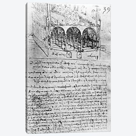 Studies for stables, Folio 39r, from Paris Manuscript B 2173, 1487-90  Canvas Print #BMN3347} by Leonardo da Vinci Art Print