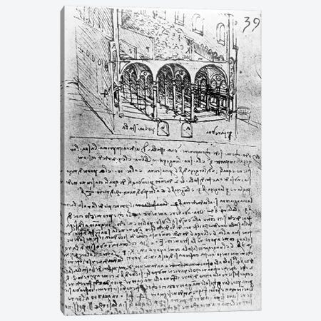 Studies for stables, Folio 39r, from Paris Manuscript B 2173, 1487-90  Canvas Print #BMN3347} by Leonardo da Vinci Art Print