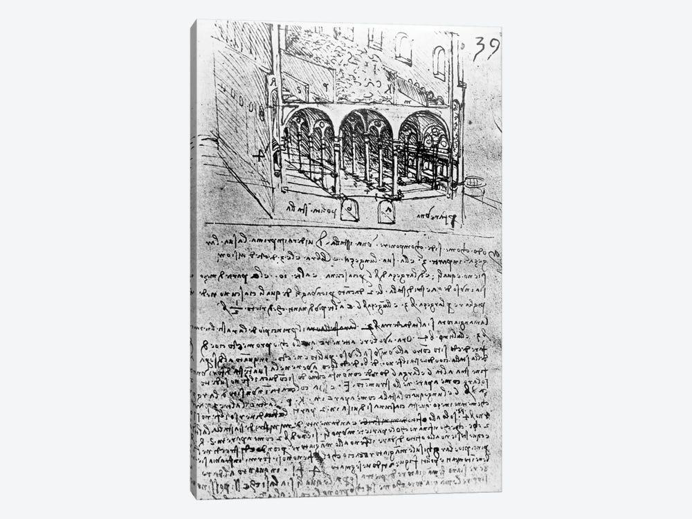 Studies for stables, Folio 39r, from Paris Manuscript B 2173, 1487-90  by Leonardo da Vinci 1-piece Canvas Artwork