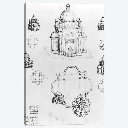 Studies for a building of a centralised plan, detail of fol. 3v from Codex Ashburnham I and II  Canvas Print #BMN3348} by Leonardo da Vinci Canvas Wall Art