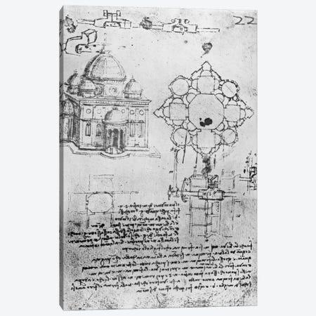 Design for a church, fol. 4r  Canvas Print #BMN3349} by Leonardo da Vinci Canvas Wall Art