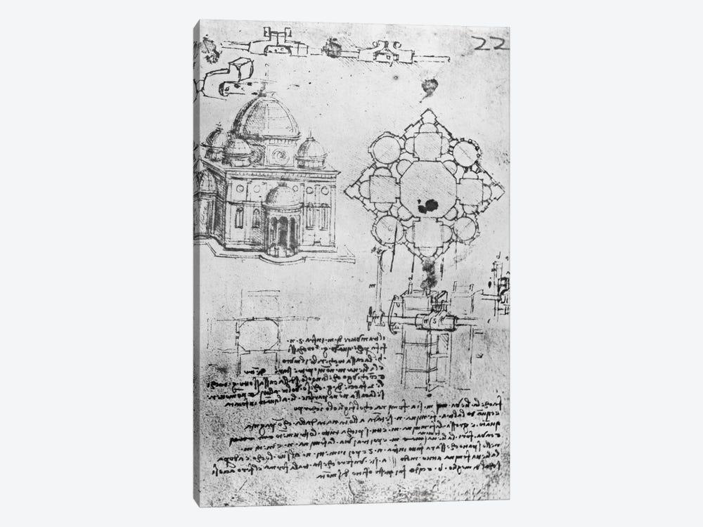 Design for a church, fol. 4r  by Leonardo da Vinci 1-piece Canvas Art