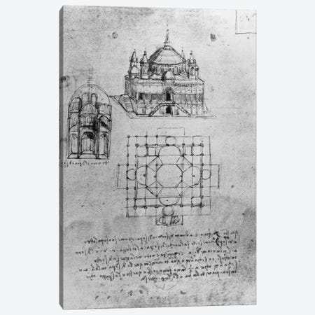 Design for a church, fol. 4r  Canvas Print #BMN3350} by Leonardo da Vinci Canvas Art Print