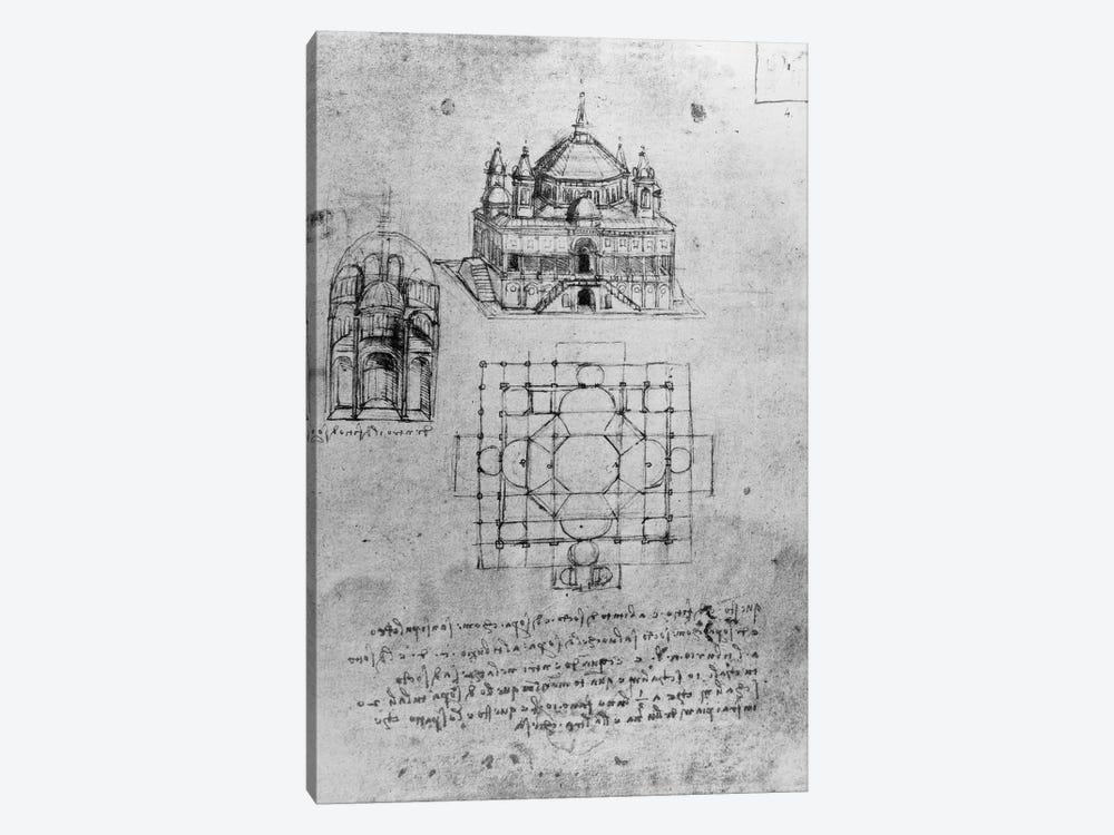 Design for a church, fol. 4r  by Leonardo da Vinci 1-piece Canvas Wall Art