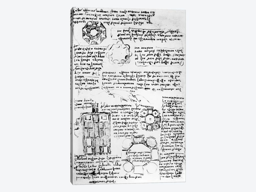 Design for a palace and park  by Leonardo da Vinci 1-piece Canvas Art Print