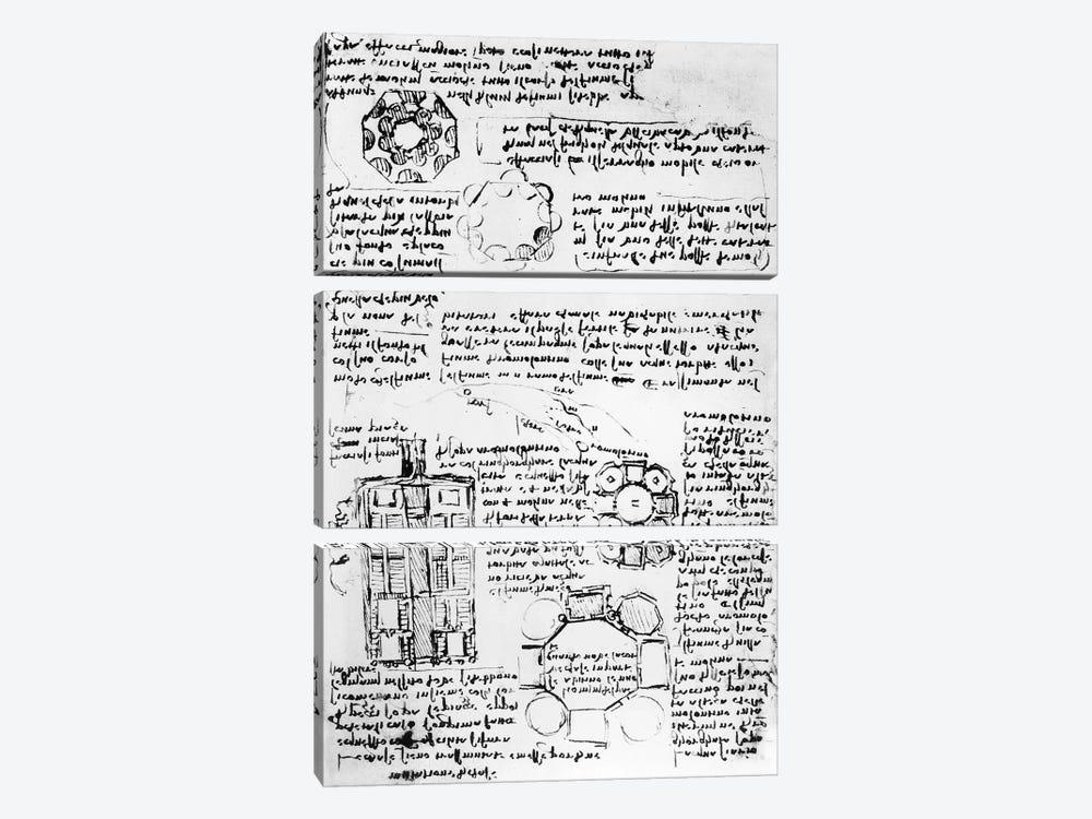 Design for a palace and park  by Leonardo da Vinci 3-piece Canvas Art Print