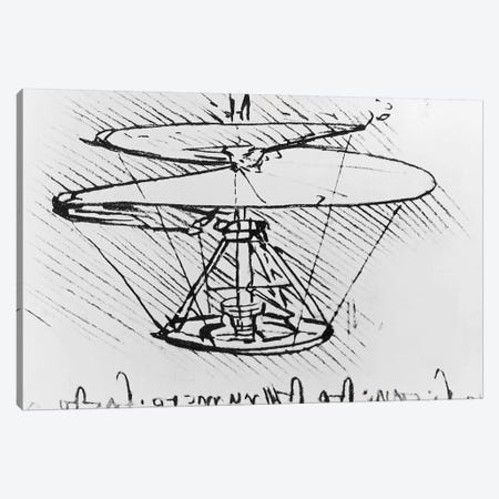 Detail of a design for a flying machine, c.1488  Canvas Print #BMN3352} by Leonardo da Vinci Art Print