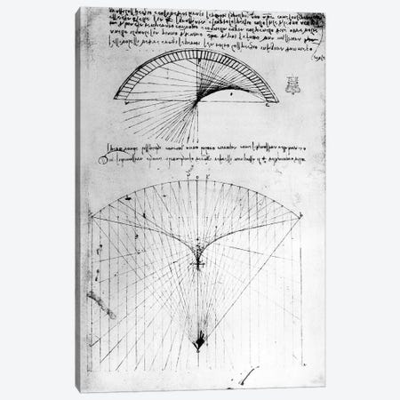 Studies of concave mirrors of constant and parabolic curvatures, from the Codex Arundel, 1490s-1518  Canvas Print #BMN3353} by Leonardo da Vinci Art Print