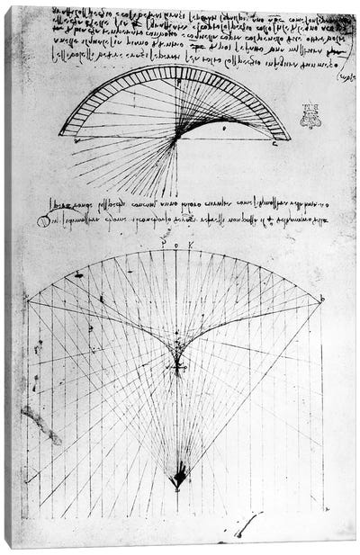Studies of concave mirrors of constant and parabolic curvatures, from the Codex Arundel, 1490s-1518  Canvas Print #BMN3353