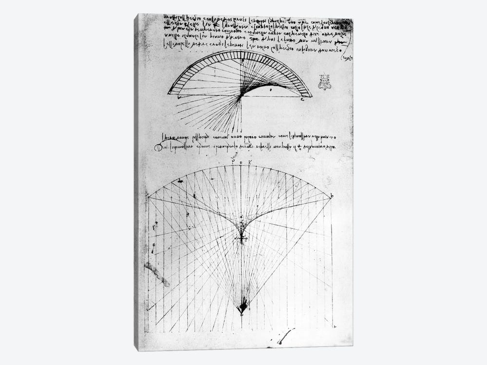 Studies of concave mirrors of constant and parabolic curvatures, from the Codex Arundel, 1490s-1518 by Leonardo da Vinci 1-piece Canvas Print