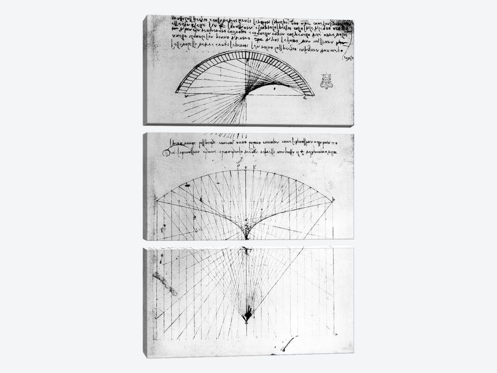 Studies of concave mirrors of constant and parabolic curvatures, from the Codex Arundel, 1490s-1518 by Leonardo da Vinci 3-piece Canvas Print