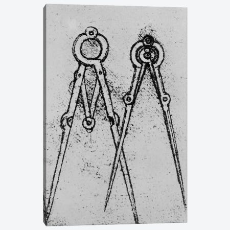 Two types of adjustable-opening compass, fol. 108v from Paris Manuscript H, 1493-4  Canvas Print #BMN3354} by Leonardo da Vinci Canvas Wall Art