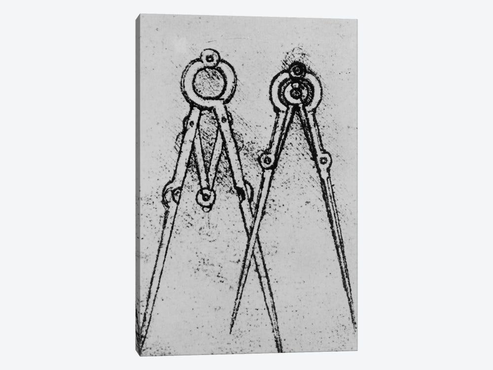 Two types of adjustable-opening compass, fol. 108v from Paris Manuscript H, 1493-4  by Leonardo da Vinci 1-piece Canvas Art