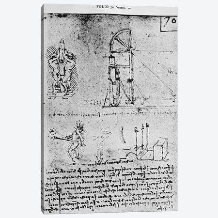 Suggestions on how to construct a bastion at night, fol. 70r from Paris Manuscript B, 1488-90  Canvas Print #BMN3355} by Leonardo da Vinci Canvas Art