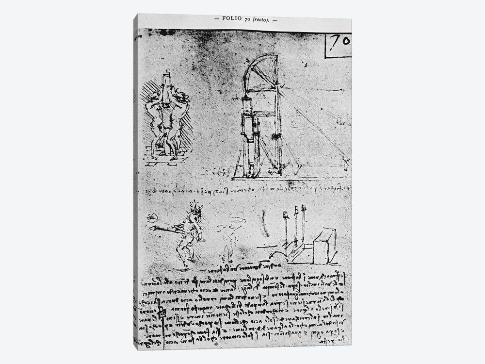 Suggestions on how to construct a bastion at night, fol. 70r from Paris Manuscript B, 1488-90  by Leonardo da Vinci 1-piece Canvas Art Print