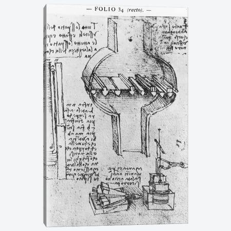 Fol. 34r from Manuscript E, 1513-14  Canvas Print #BMN3356} by Leonardo da Vinci Canvas Artwork
