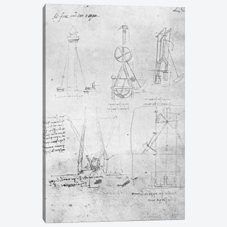 Fol. 20r from Paris Manuscript B, 1488-90  Canvas Print #BMN3357} by Leonardo da Vinci Canvas Wall Art