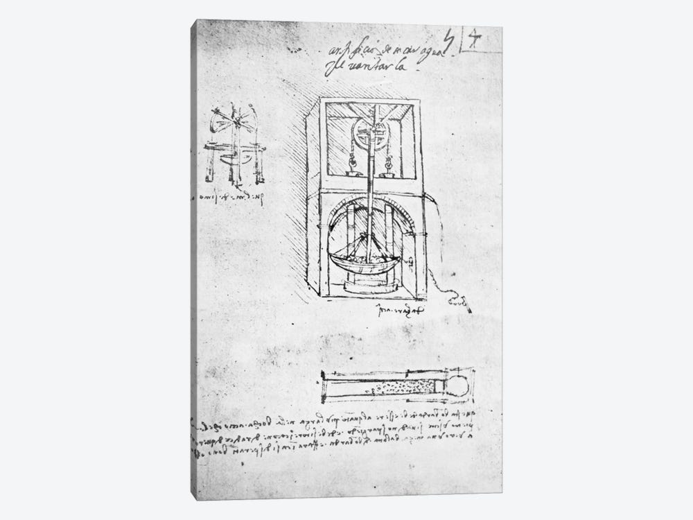 Fol. 54r from Paris Manuscript B, 1488-90  by Leonardo da Vinci 1-piece Canvas Art