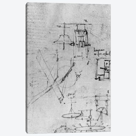 Fol. 45r, from the Codex Forster III, 1480s-1494  Canvas Print #BMN3359} by Leonardo da Vinci Canvas Art Print